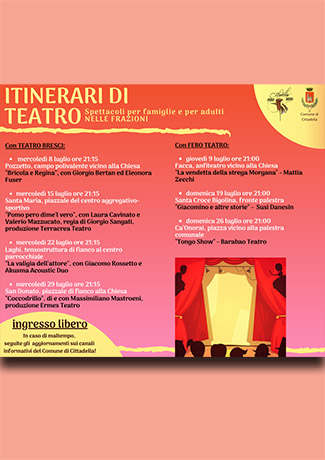 Spettacoli e teatro nelle frazioni: calendario 8-9-15-19-22-26-29 Luglio