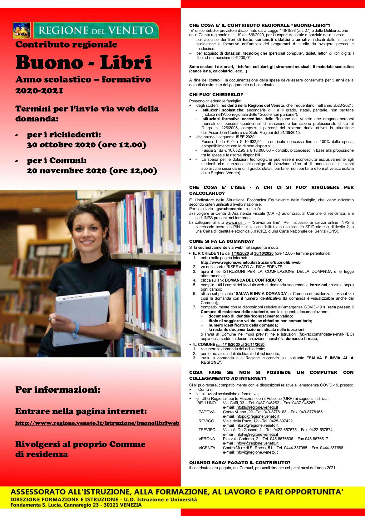 Contributo regionale Buono libri - A.S. 2020/2021
