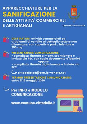 Apparecchiature per la sanificazione dell'aria delle attività commerciali ed artigianali